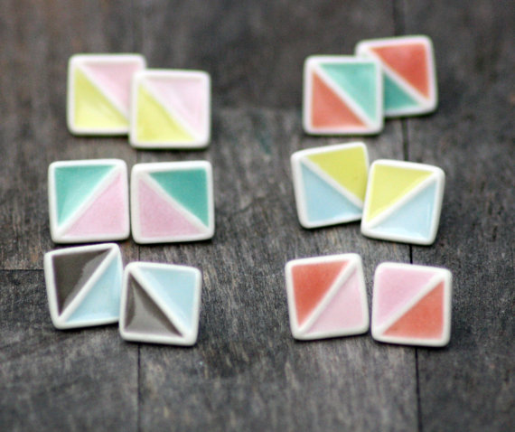 Geometric Stud Earrings  1.2 cm high. Silver plated posts.