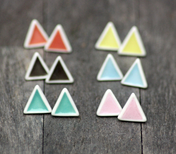Triangle Stud Earrings  1.2 cm high. Silver plated posts.