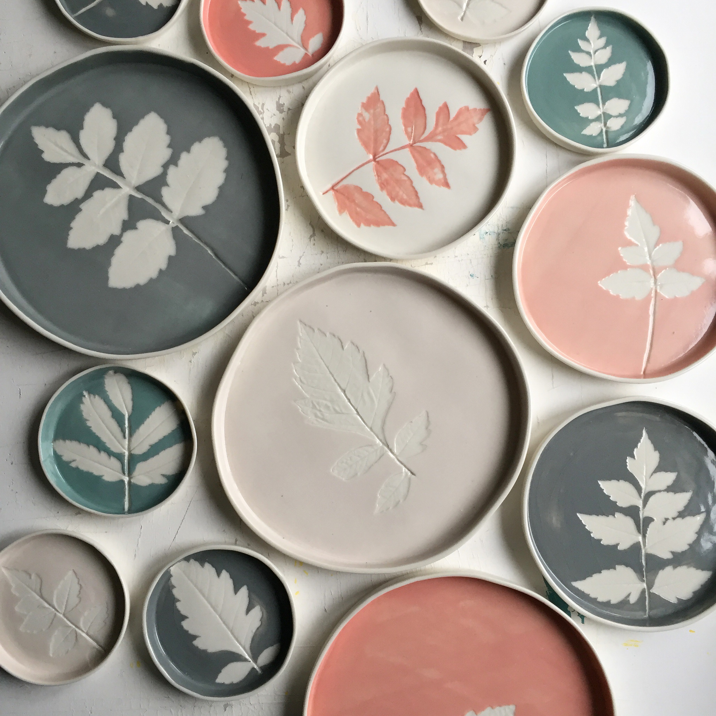 Leaf Dishes  Made using real leaves and coloured slips, each piece is unique. Available in 10, 14 and 20 cm diameter.