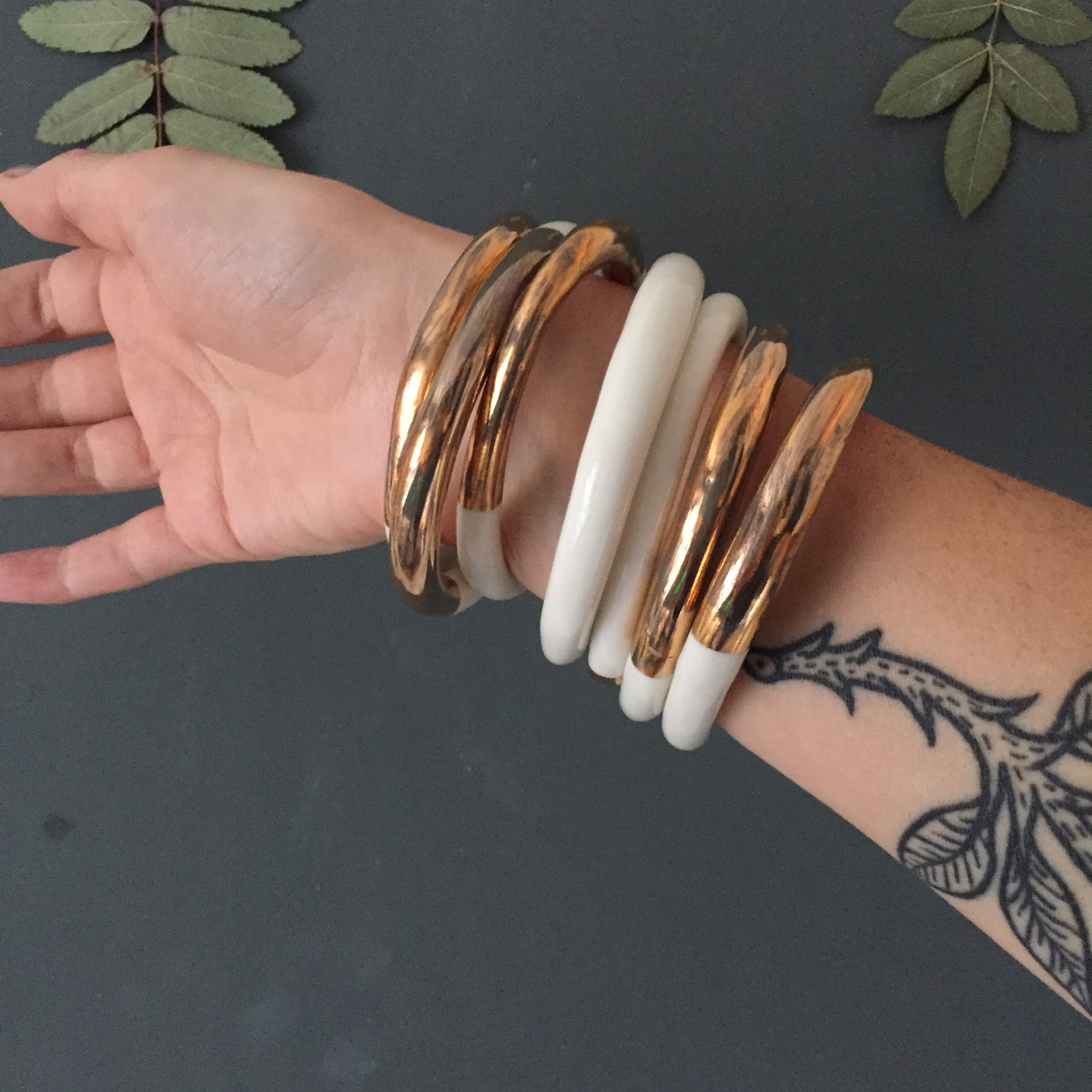 Porcelain Bangles with Real Gold Lustre