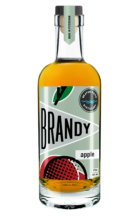 Aged Apple Brandy - Our signature product - we ferment fresh cider and then distill it twice before resting it in oak barrels for at least one year. Bottled at 80 proof, it has caramel and vanilla flavors over an apple finish. It can be enjoyed on its own or in any cocktail in place of whiskey or bourbon.