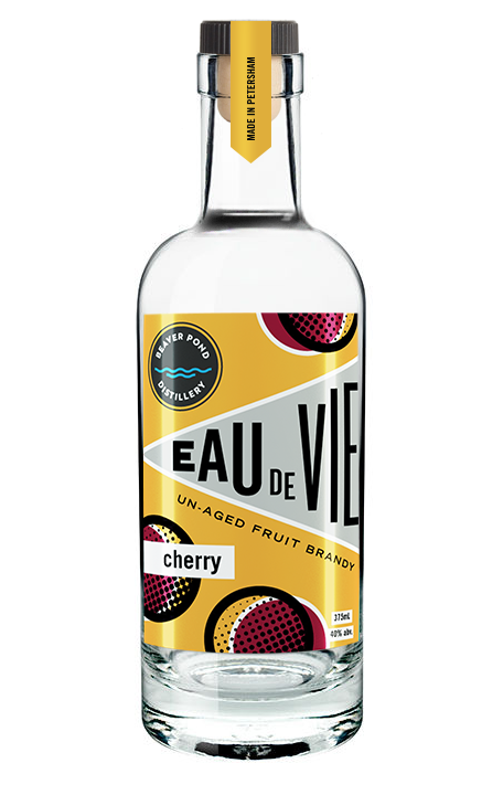 Cherry Eau de Vie - We use tart cherries from New York orchards, which we ferment with the pulp. Distilling the entire mash, skins and all, makes for a strong aroma of cherries. We make approximately 150 bottles a year.