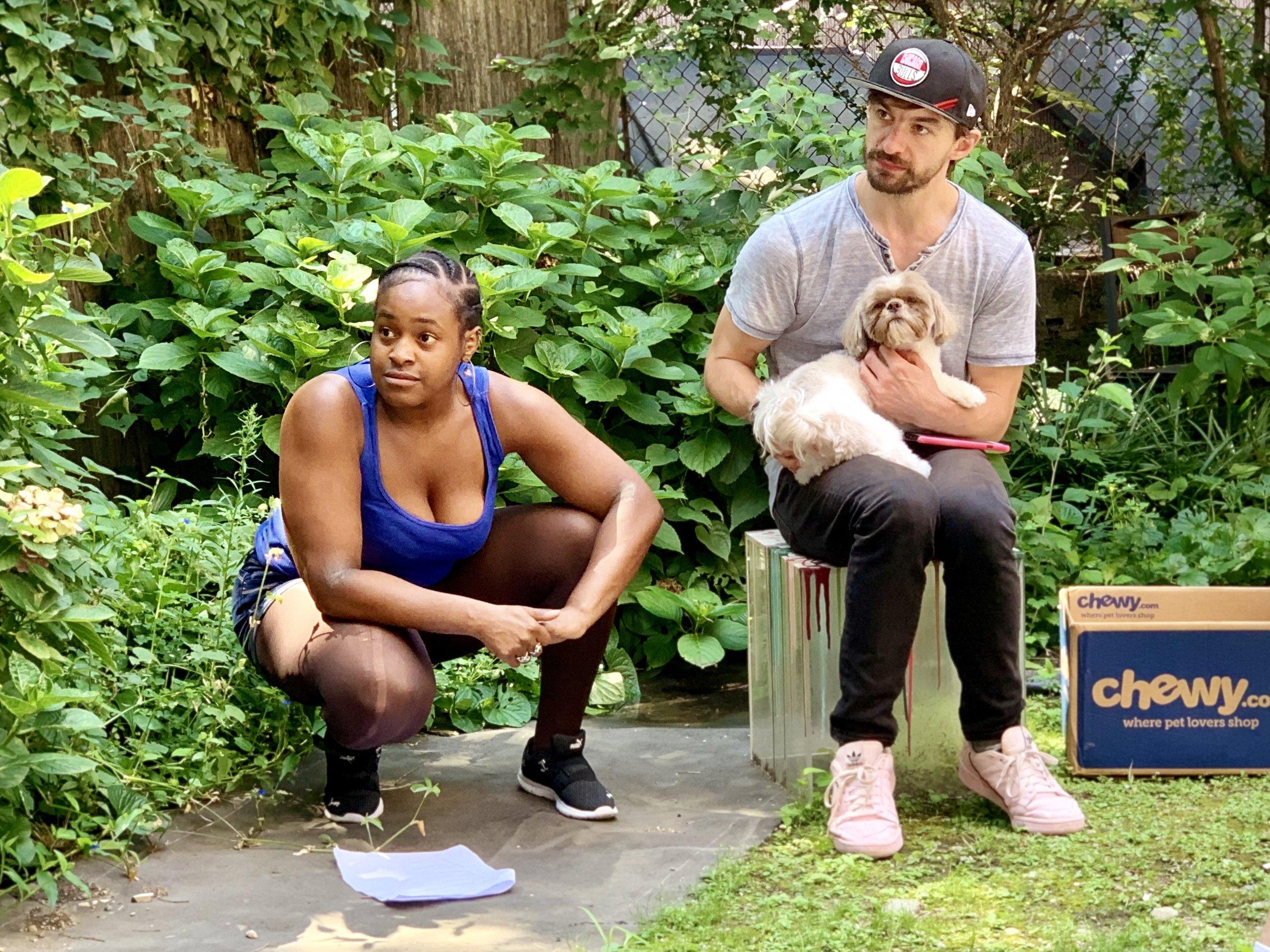Starr Kirkland, Scott Thomas, and Boscoe Barles in rehearsal for Serena Berman's Dog Play.