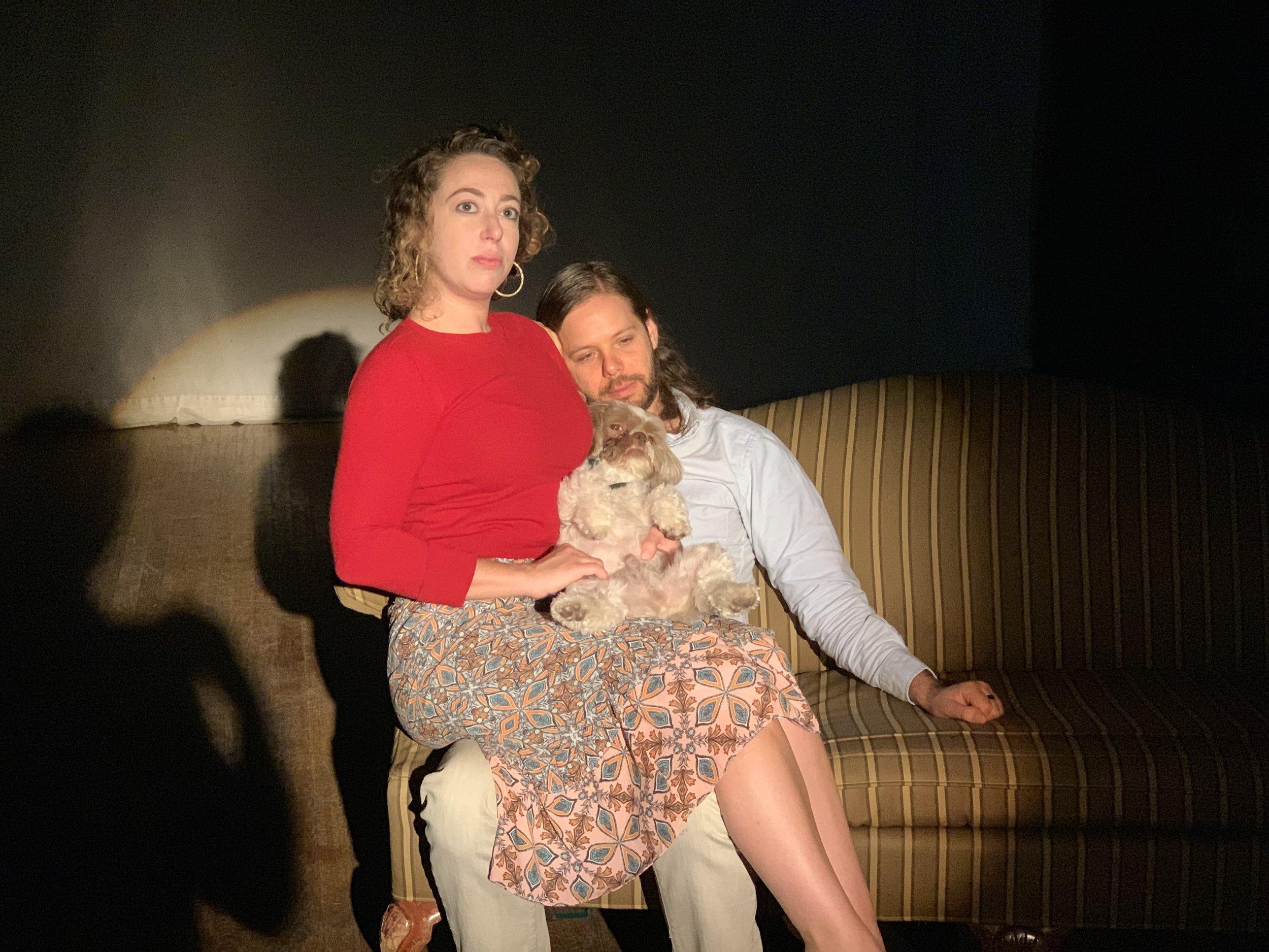 Irina Kaplan, Ira Gamerman, and Boscoe Barles in I <3 My Emotional Support Chinchilla! by Catherine Weingarten, directed by Allen MacLeod