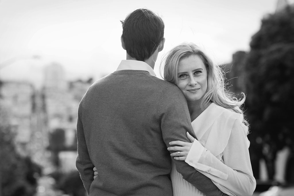 Engagement session with Kristen Licht and Nick Sgarlata in FiDi, North Beach and Baker Beach in San Francisco, Calif., Sunday, April 10, 2016. Photos by Alison Yin and Adm Golub/Alison Yin Photography