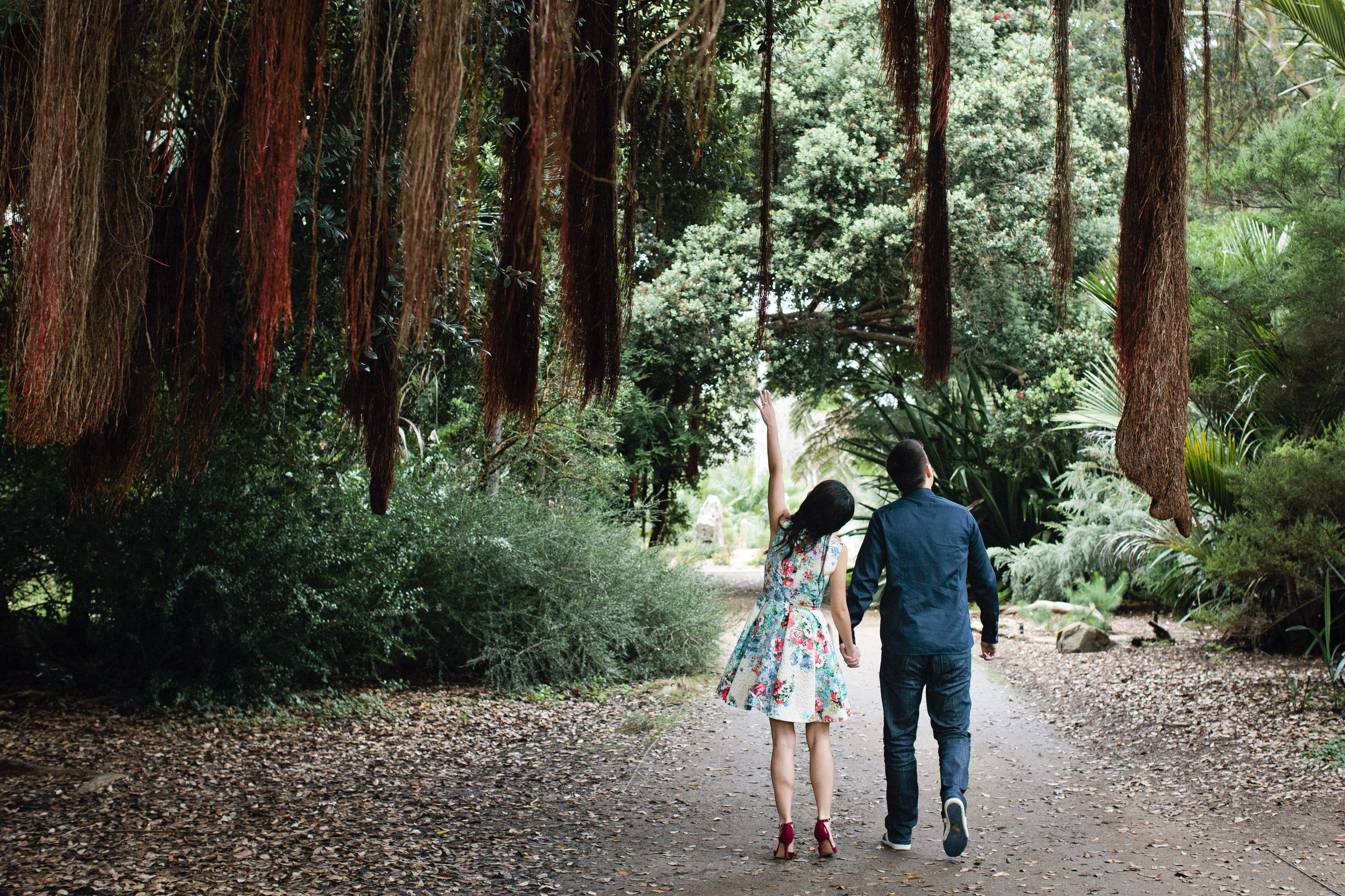 Jing and Arthur in the Botanical Gardens in their Golden Gate Park engagement session.