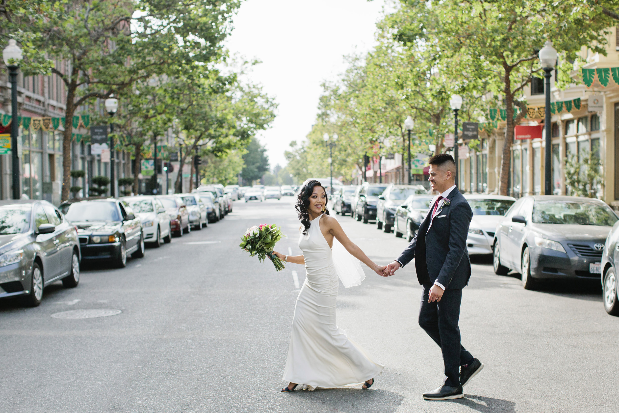 We scouted with Holly and Jonathon before their wedding to find portrait spots for them in downtown Oakland.