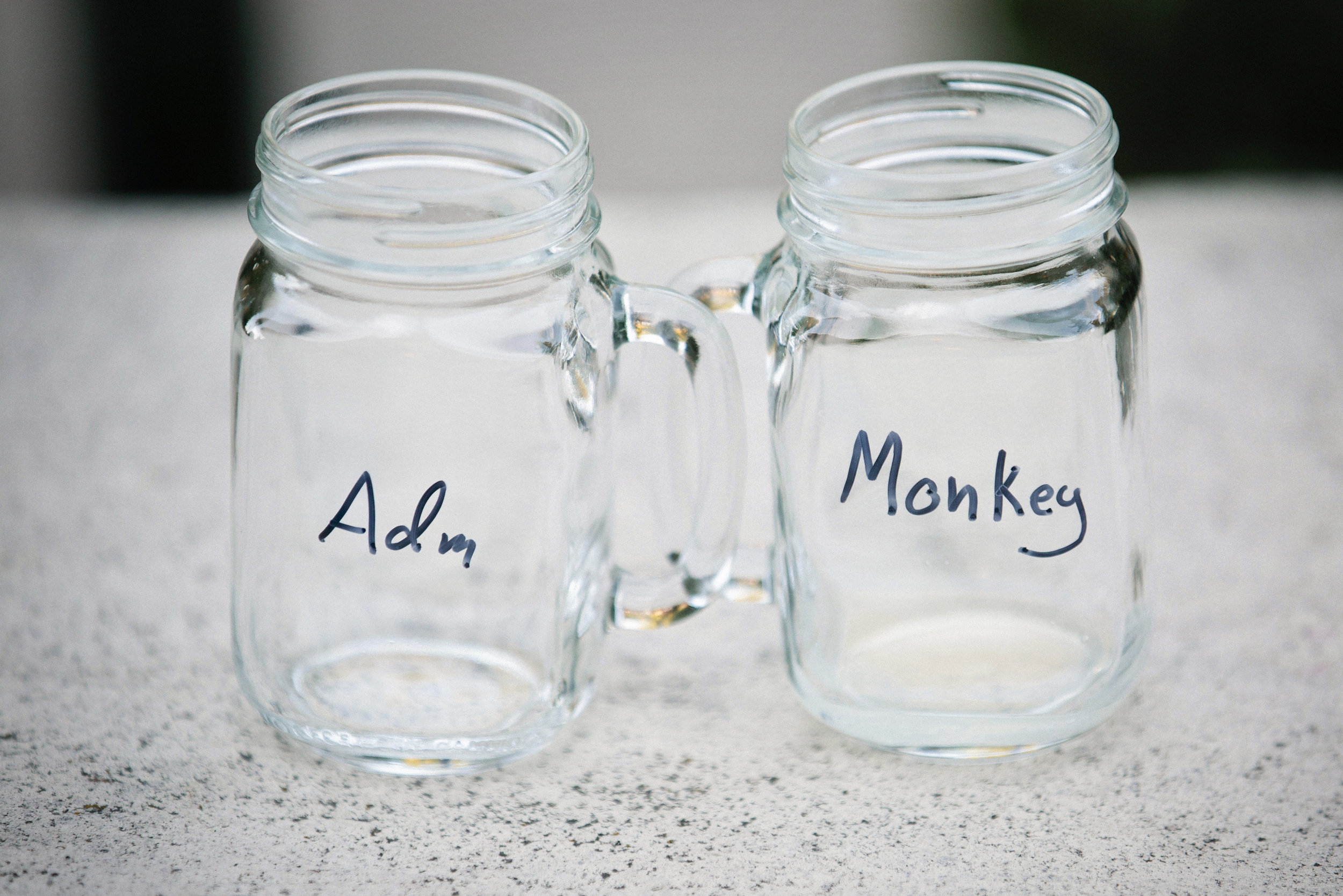 "These are reusable mugs we got at Sarah and Tom's Tahoe wedding almost five years ago. Adm calls me ""Monkey"" and you might see why if you keep reading…"
