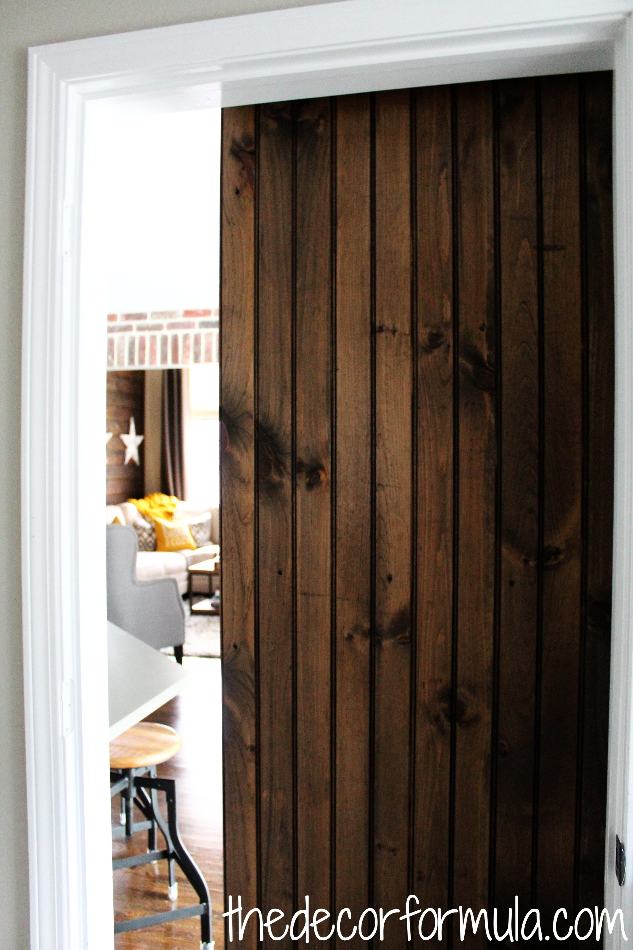 BTW This ^ is what my door looks like from the back side- the tongue and groove shiplap had a beautiful bead board design on the back.  Interested in the chalkboard wall behind the door? Check out my post below.