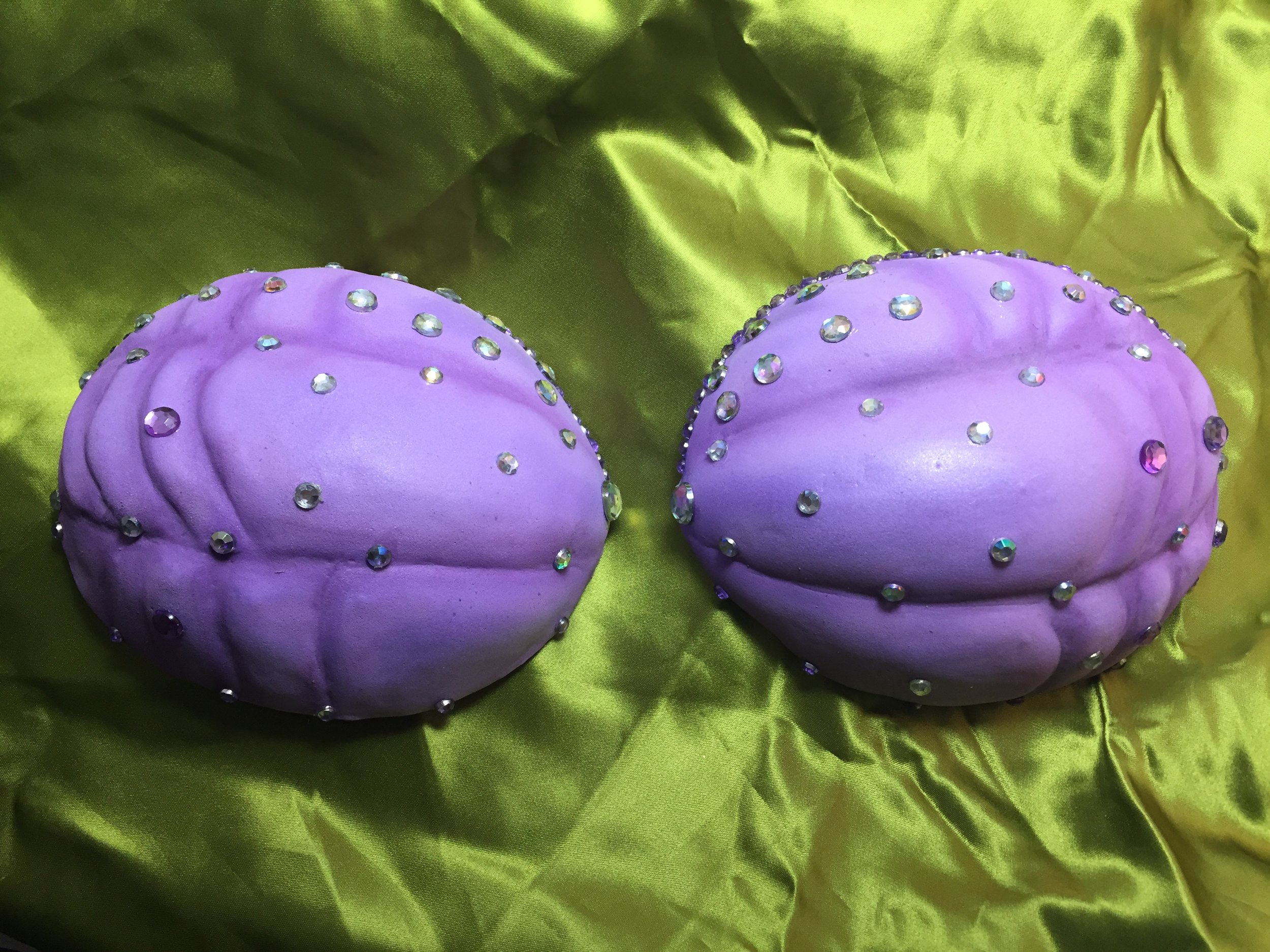 Details on Shells: velcro removable, carved from 5mm foam, airbrush painted, Swarovski crystals.