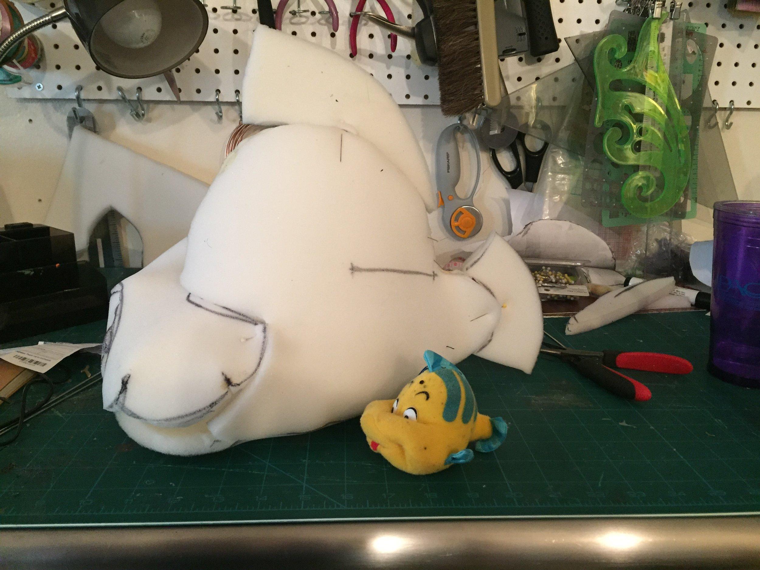 "Foam body sized up from ""Flounder"" stuffed animal"