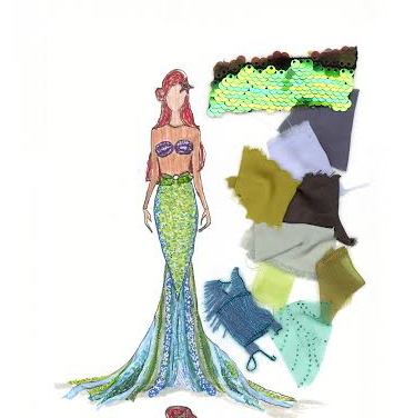 Final costume rendering for Ariel's fin costume
