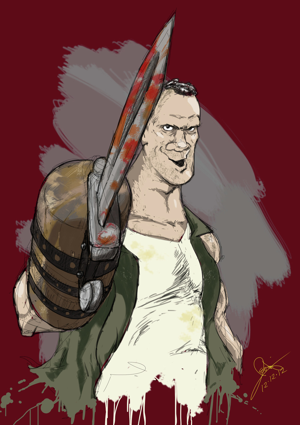 Merle from  The Walking Dead,  2012, digital illustration and painting