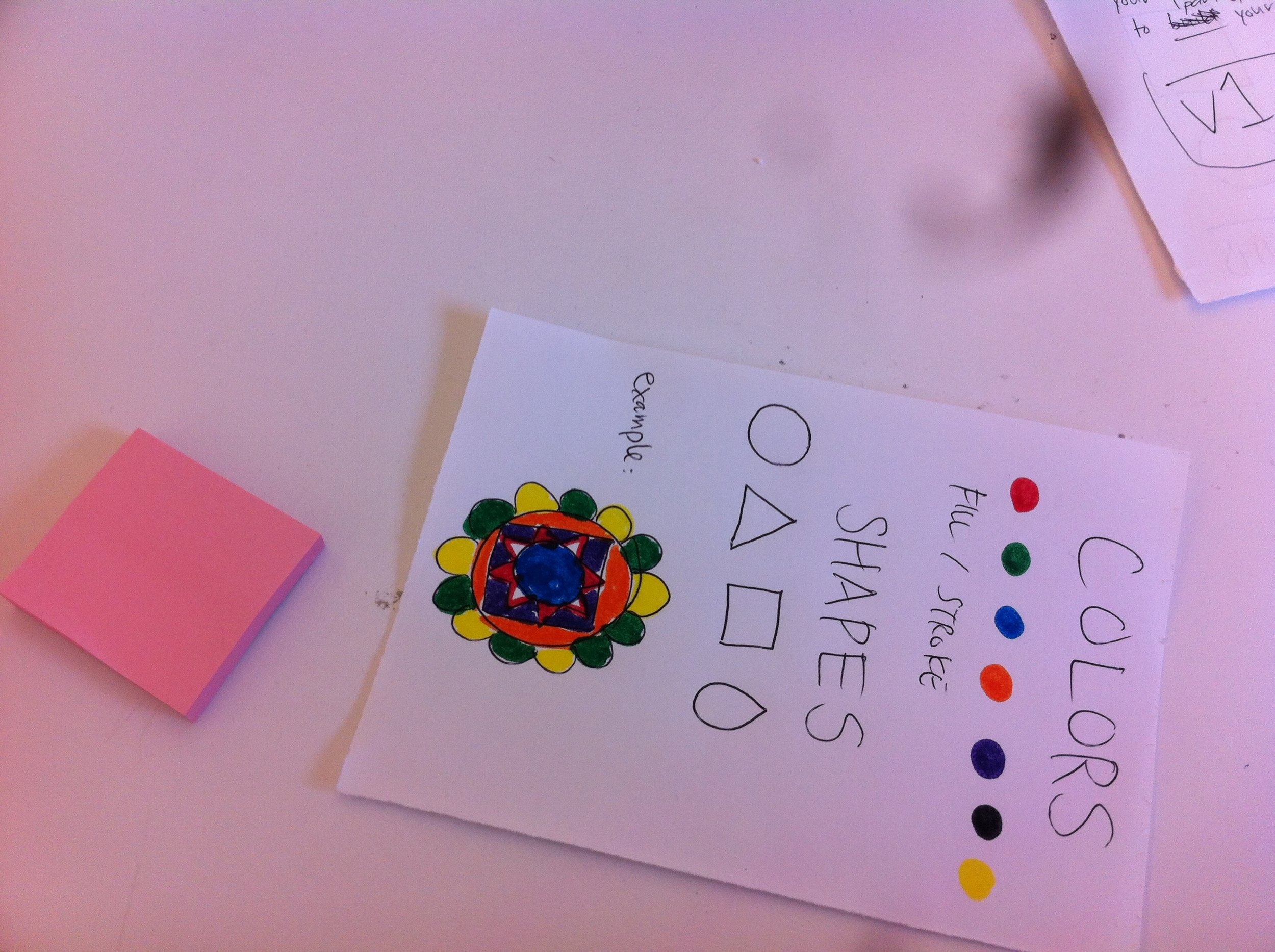 The paper shown here acts as a prototype for an interface for users to choose colors and shapes.