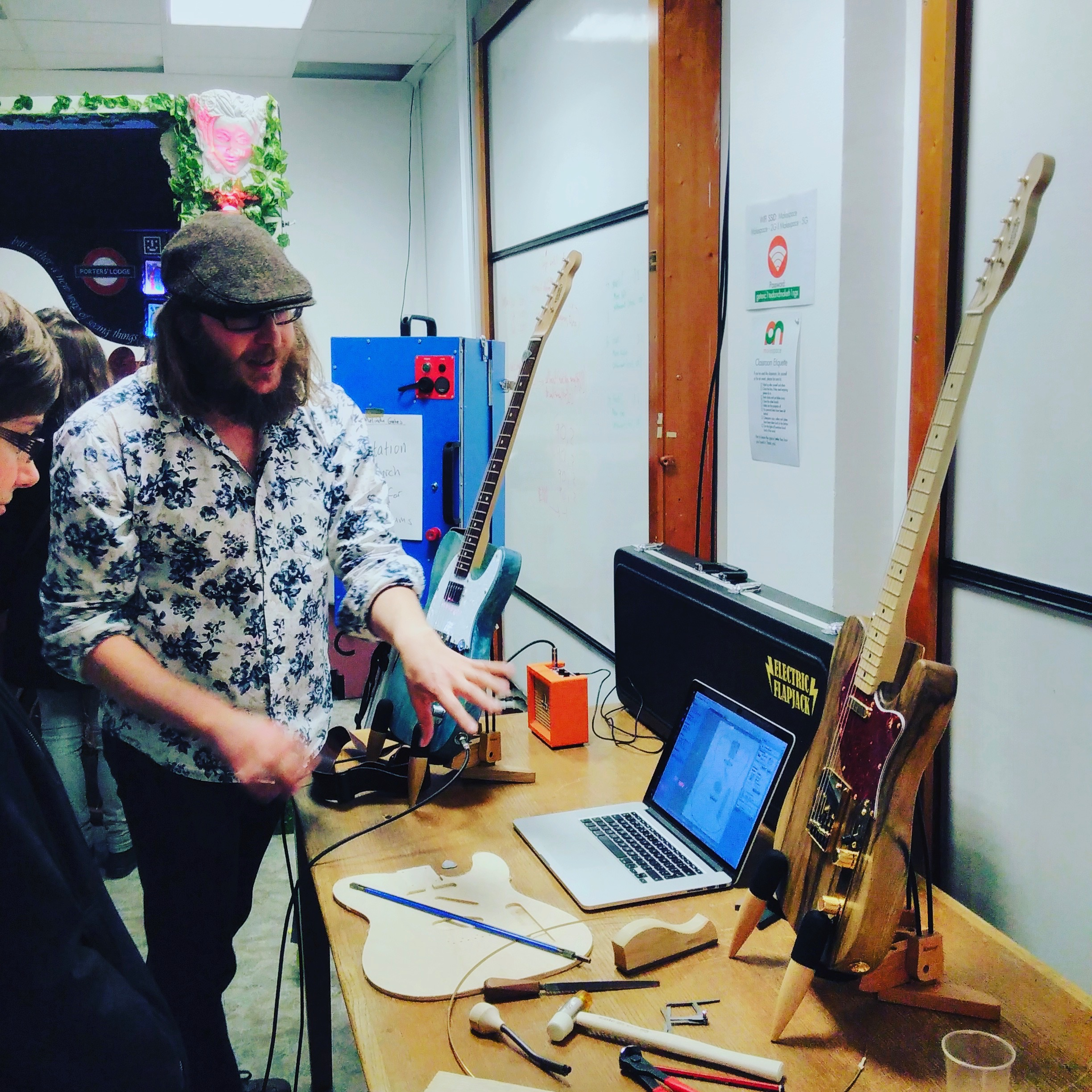 Me doing some demos at the last Makespace show and tell night in early 2017