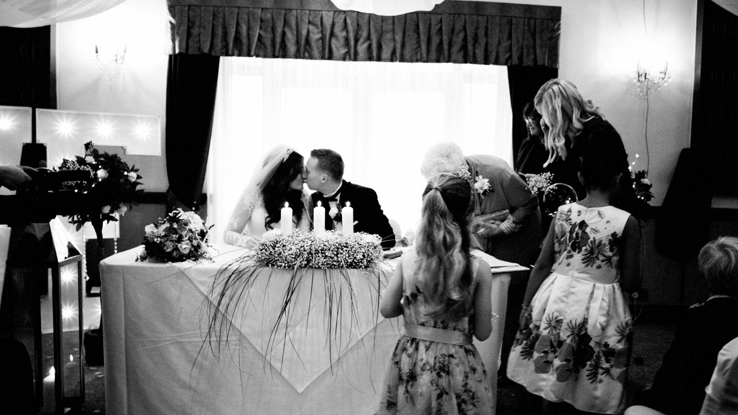 Private moment. Just married, Manchester wedding
