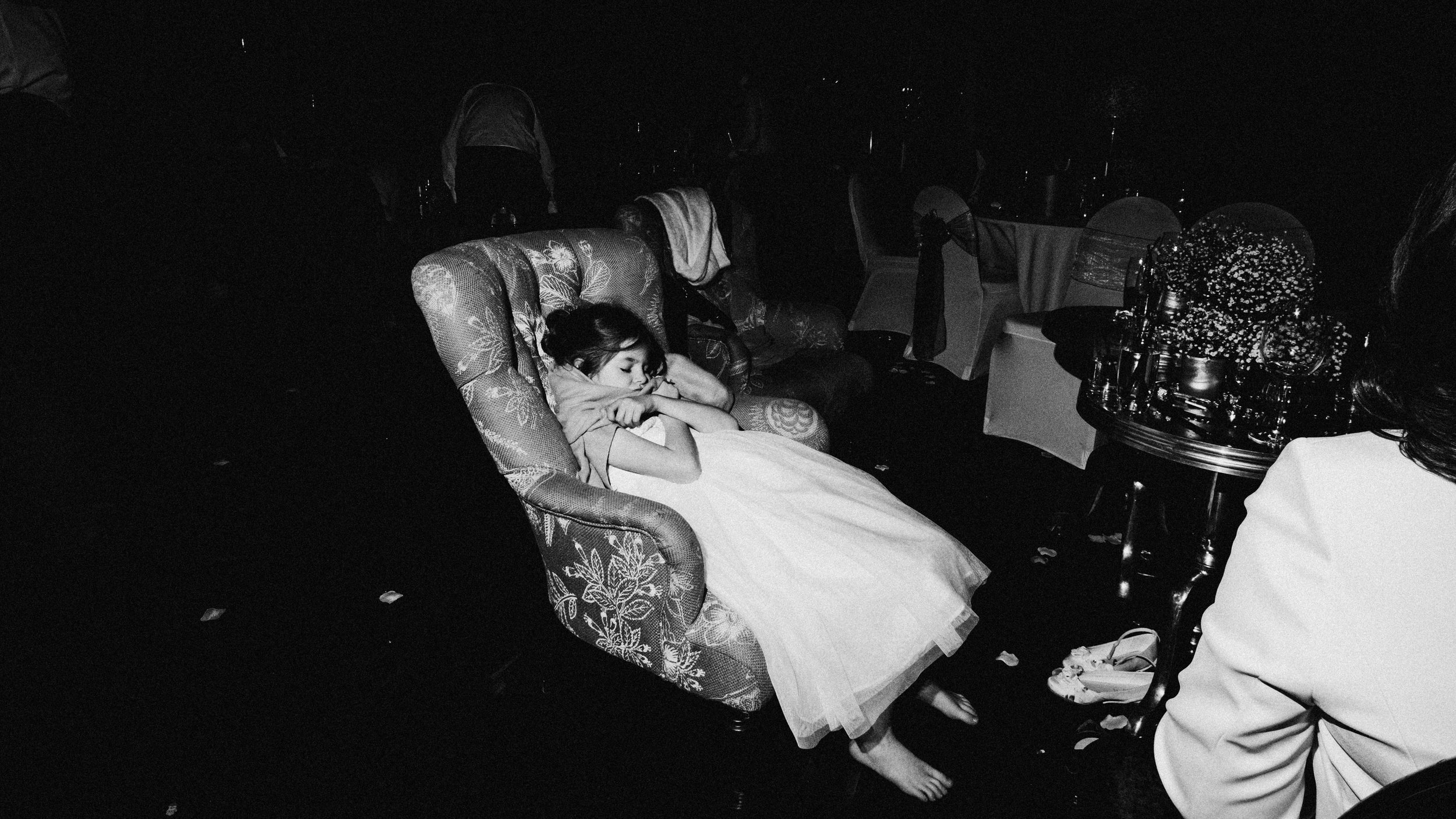 Long wedding day, bridesmaid pooped out. Manchester wedding.