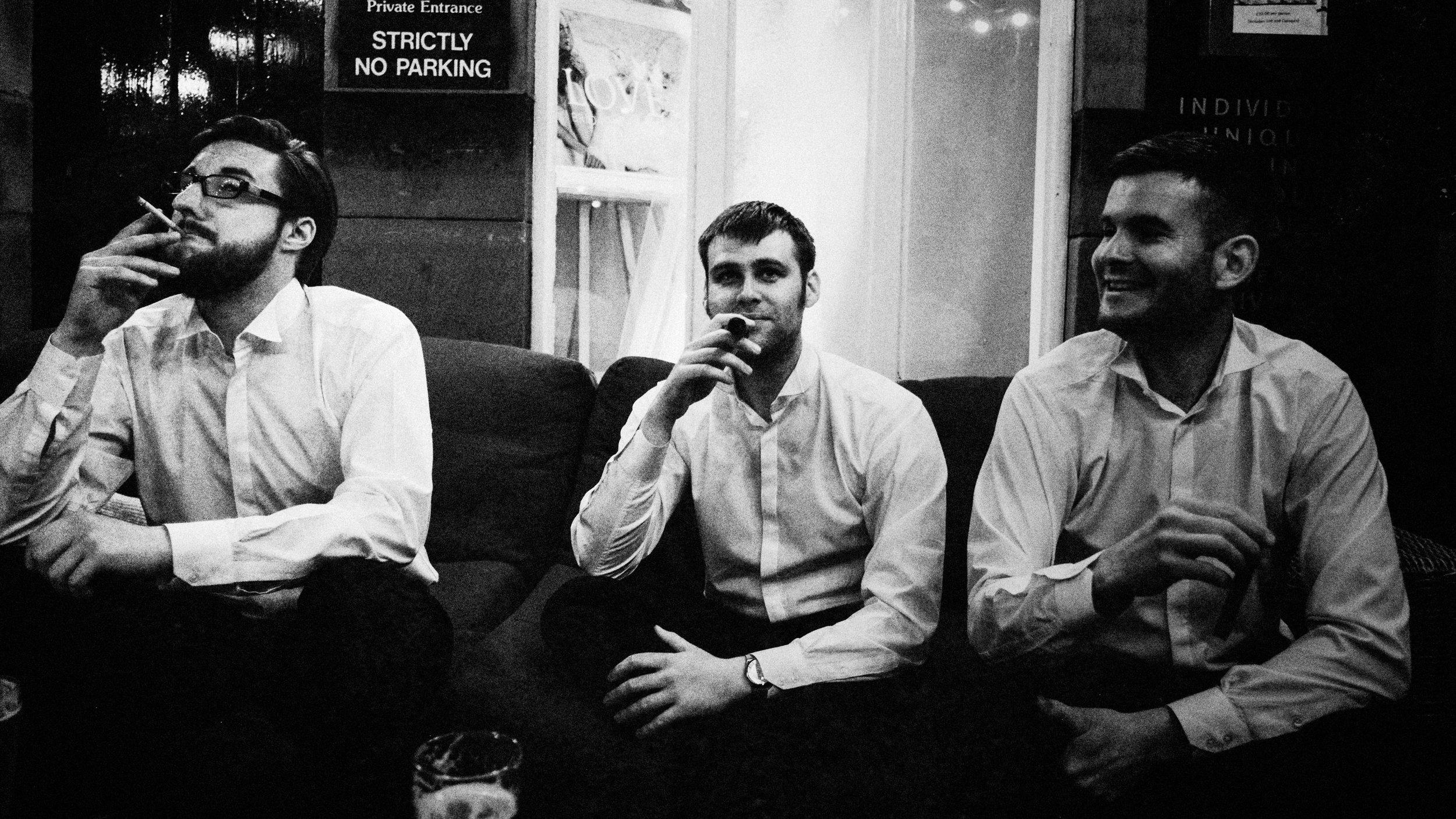 best men relaxing post wedding speech at belle epoque knutsford