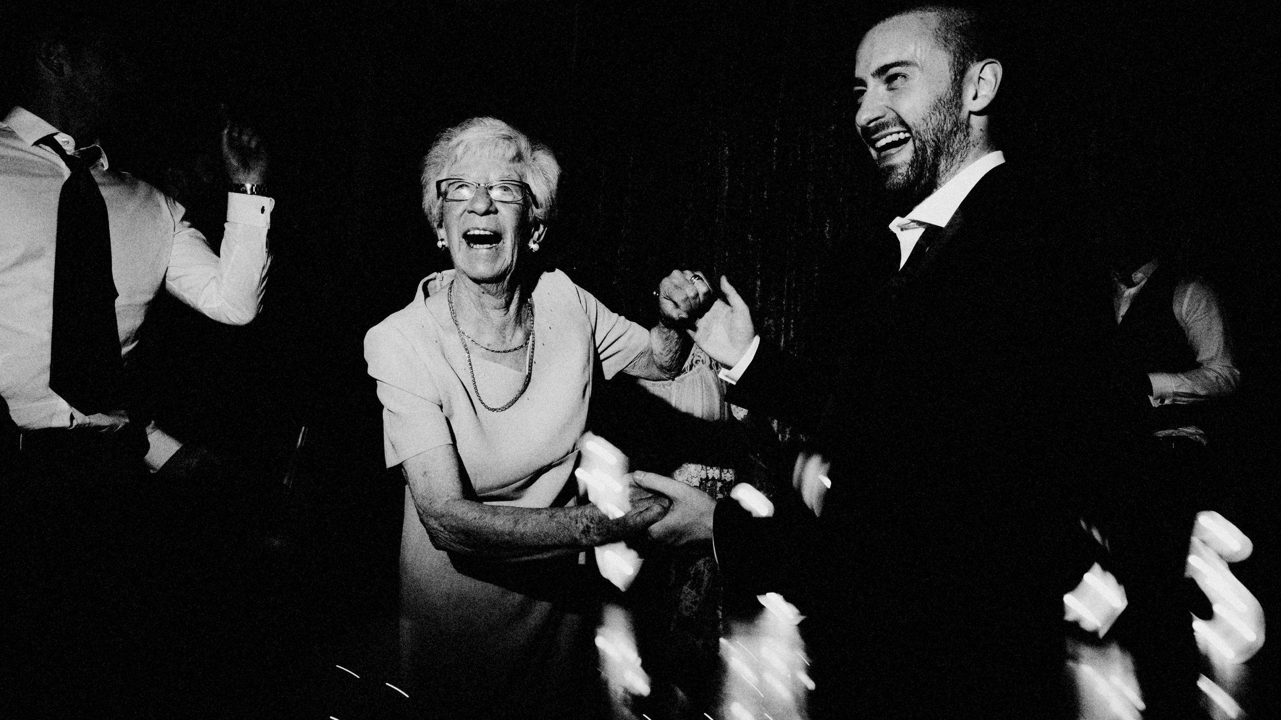 dancing with grandma at liverpool wedding