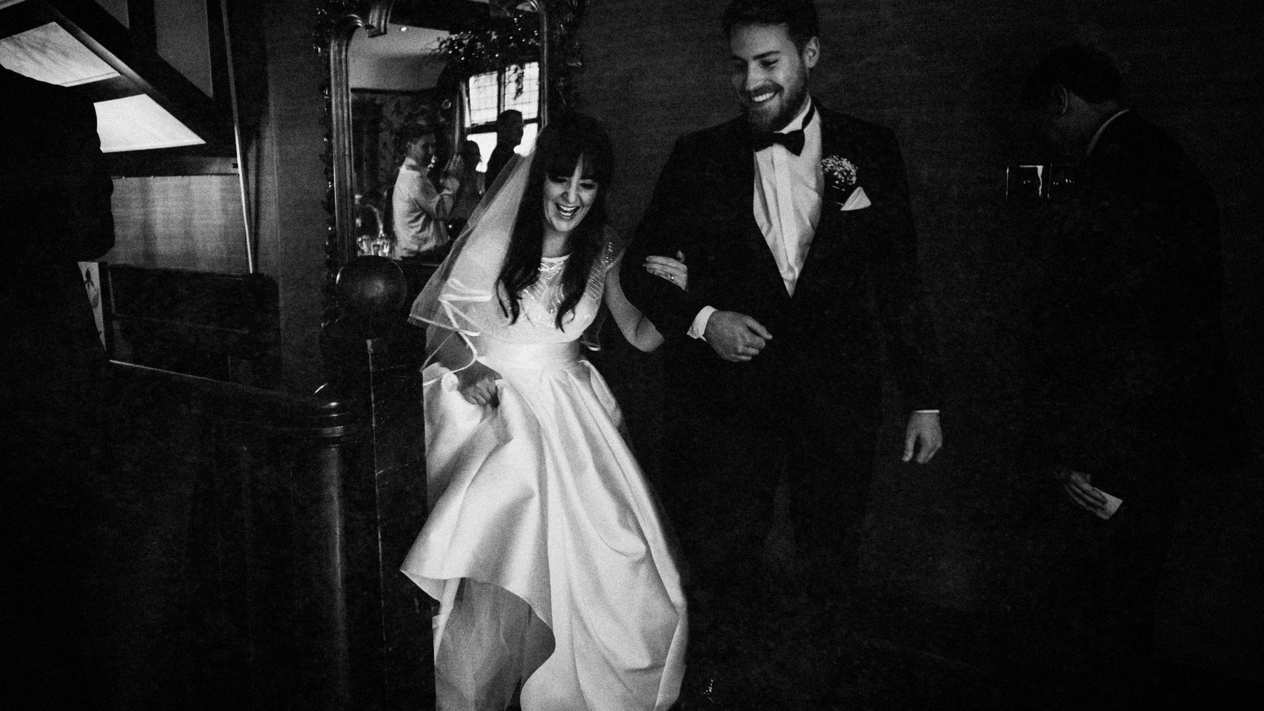 Happy faces making an entrance, Cheshire wedding