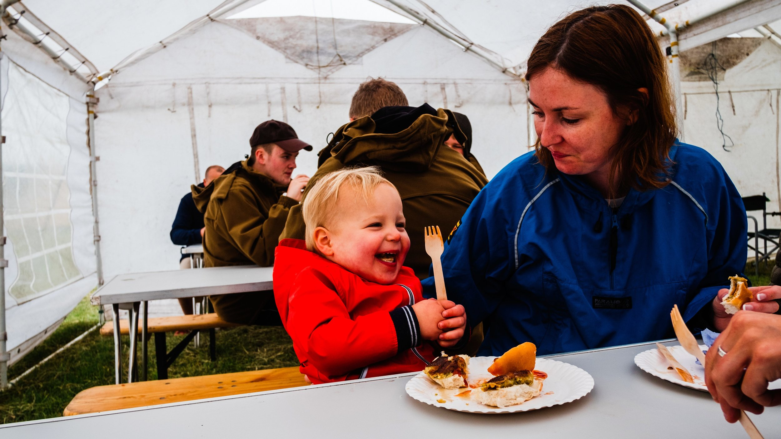 breakfast in a tent during a tipi wedding in peak district