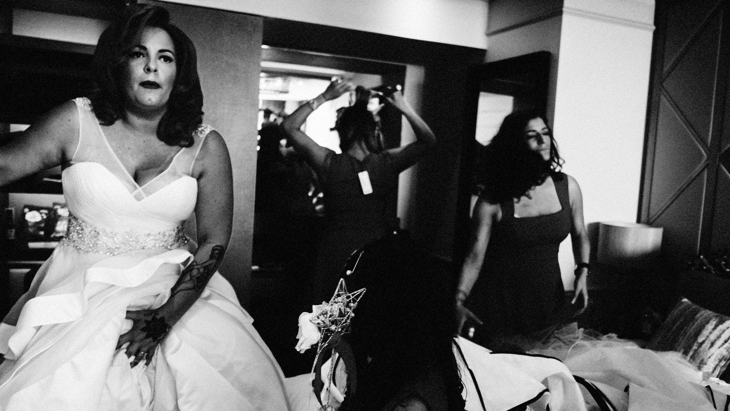 bride getting ready in seven hotel in essex