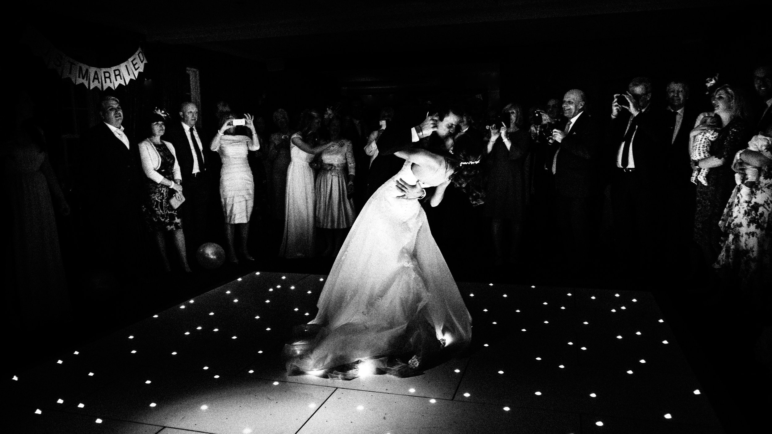 bride and groom dancing at whitley hall wedding venue in sheffield