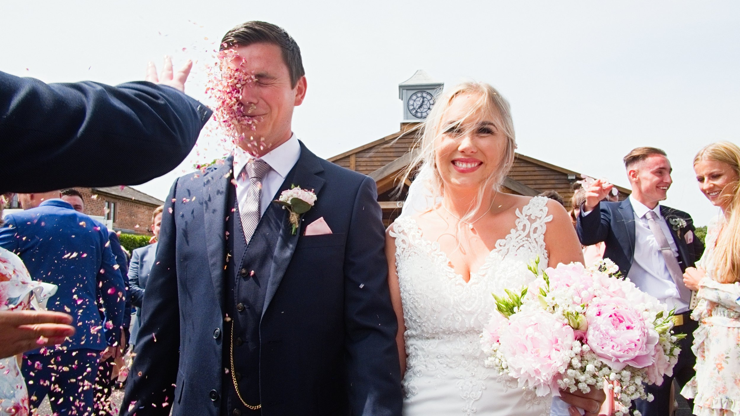 bride and groom at merrydale manor wedding venue in cheshire