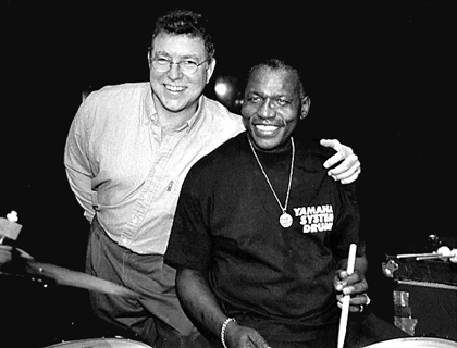 Here I am with Elvin. I teach a course on the music of Elvin Jones at Berklee.
