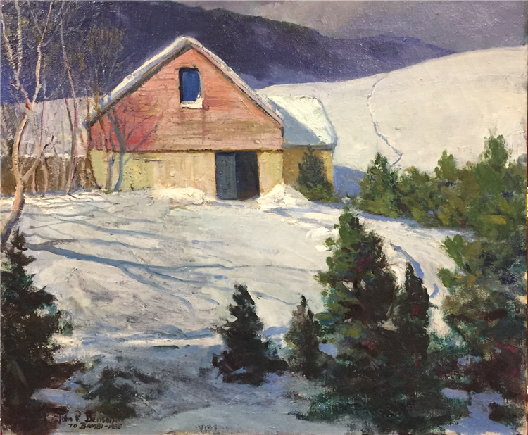 The Red Barn in Winter , Oil on Canvas