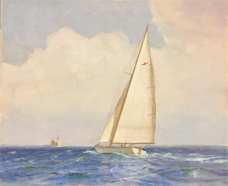 Sloop Sailing off Whaleback Light , Oil on Canvas
