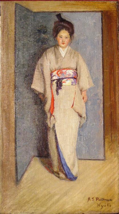 Japanese Women, Kyoto, Oil on Canvas