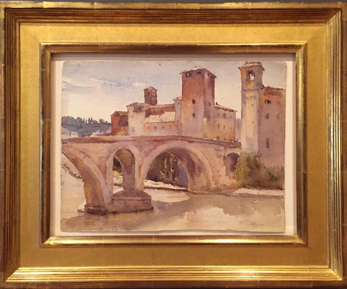 Bridge Over Tiber River, Rome, Watercolor on Paper