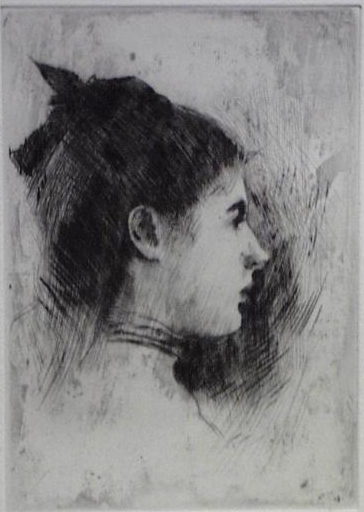 Young Woman in Profile,  Etching on Paper