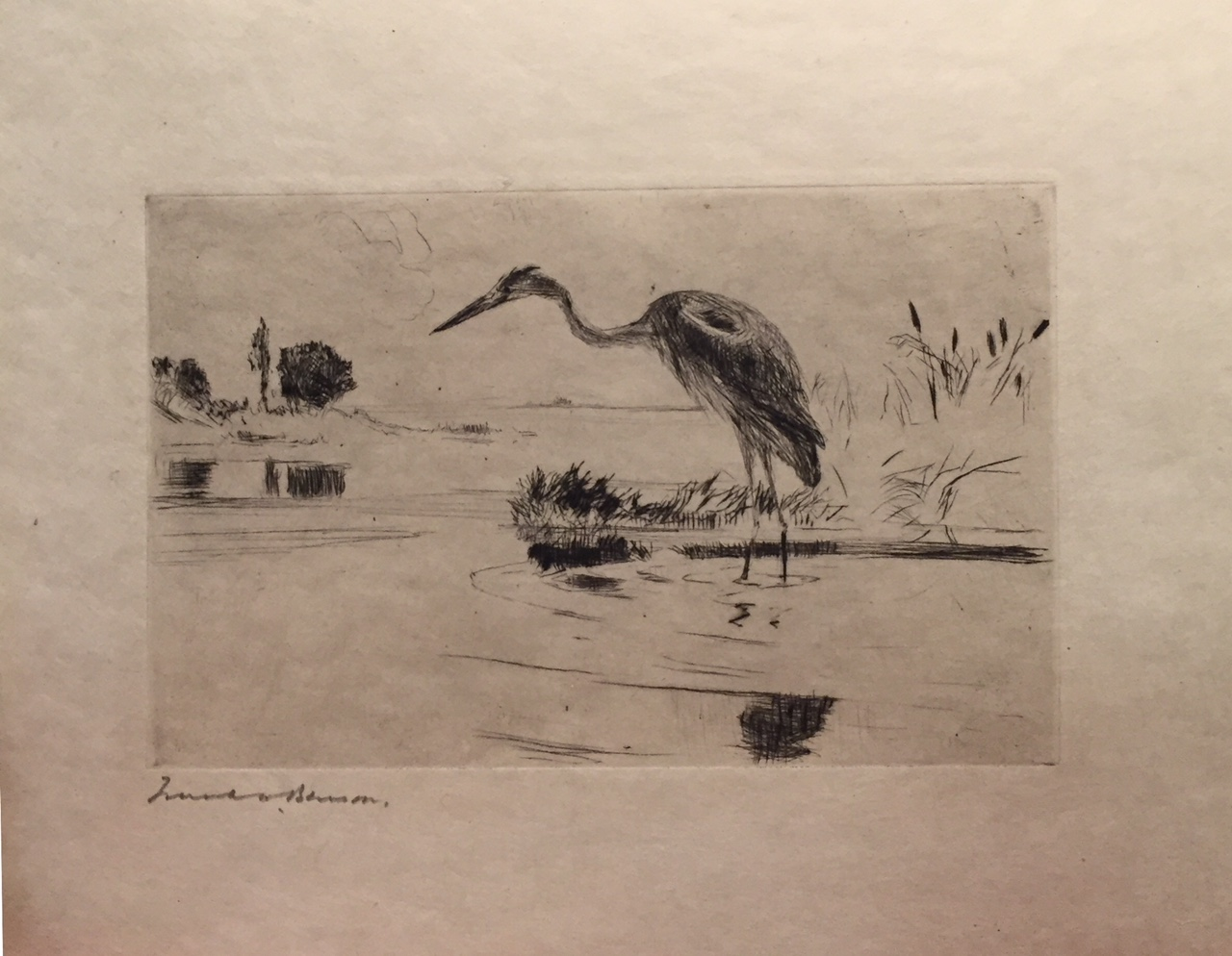 """Heron Fishing, 159  Drypoint on paper 3 1/2"""" x 5 1/2"""" Pencil signed, Paff #164"""