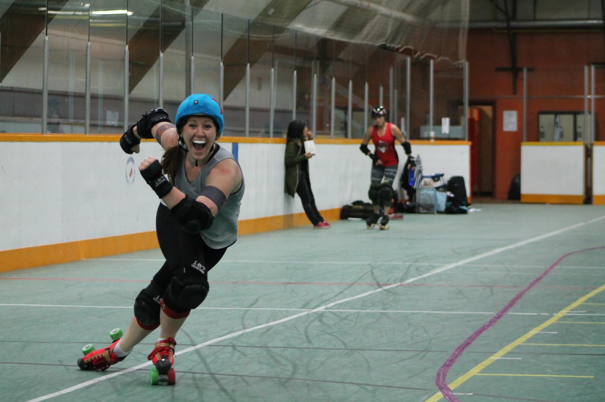 The joy this sport brings to me is visible all over my face. What isn't so obvious is that I'm skating outside the track boundaries and on my way to the penalty box.