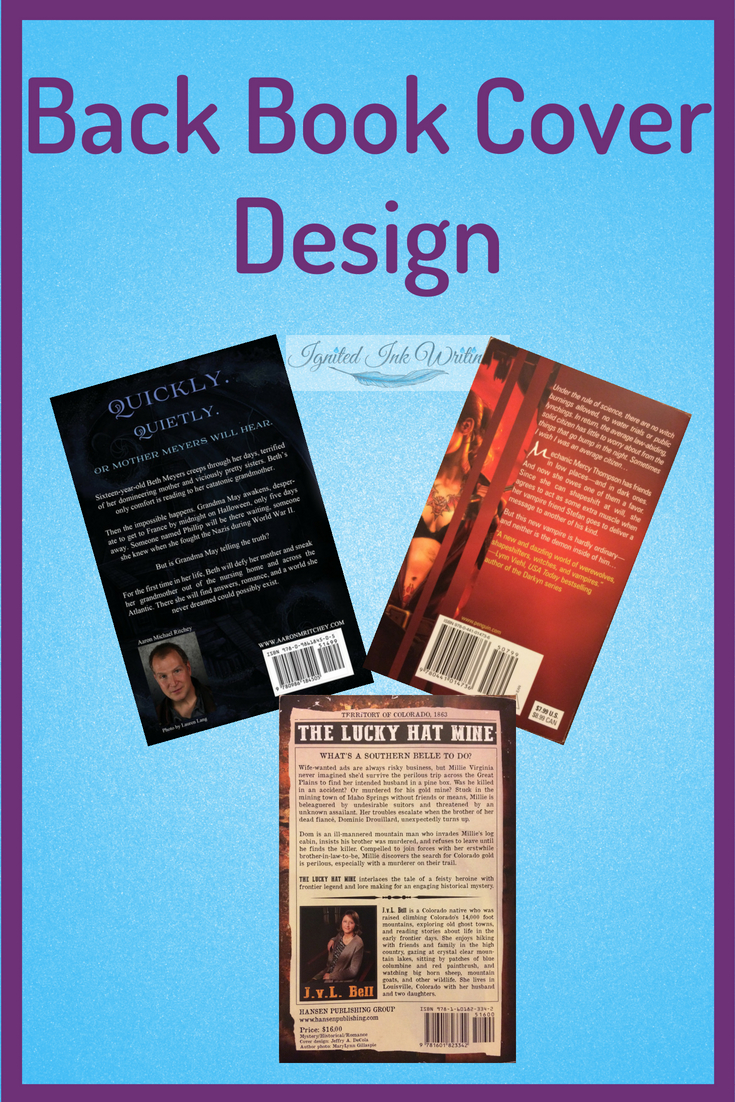 When people say your cover sells your book, they aren't only talking about the image on the front. The elements of your back cover convince a reader to buy because that is where they are introduced to your story, your characters, and you. Your back book cover convinces a reader to buy.  To learn when to design your cover, go to  https://www.ignitedinkwriting.com/timeline-of-a-book