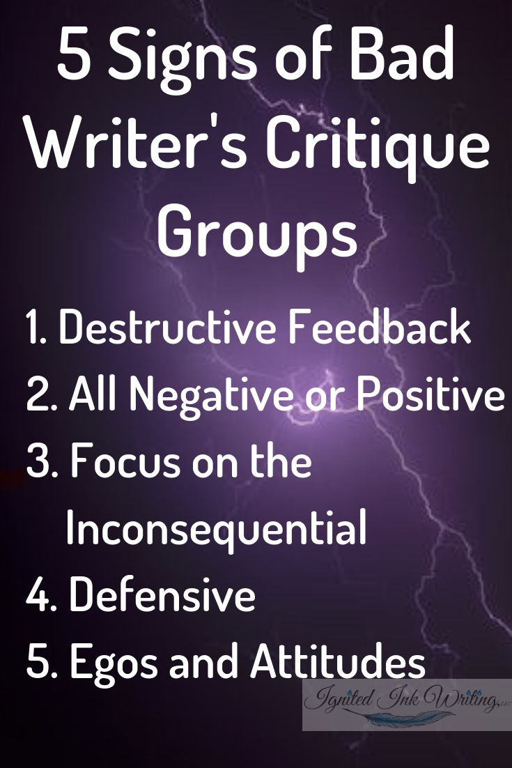Receiving good feedback from fellow writers isn't as simple as joining a critique group. Not all critique groups are healthy or right for you and your writing, so you need to know the five signs and red flags of good and bad critique groups. To download a free revision checklist, go to  https://www.ignitedinkwriting.com/revision-checklist