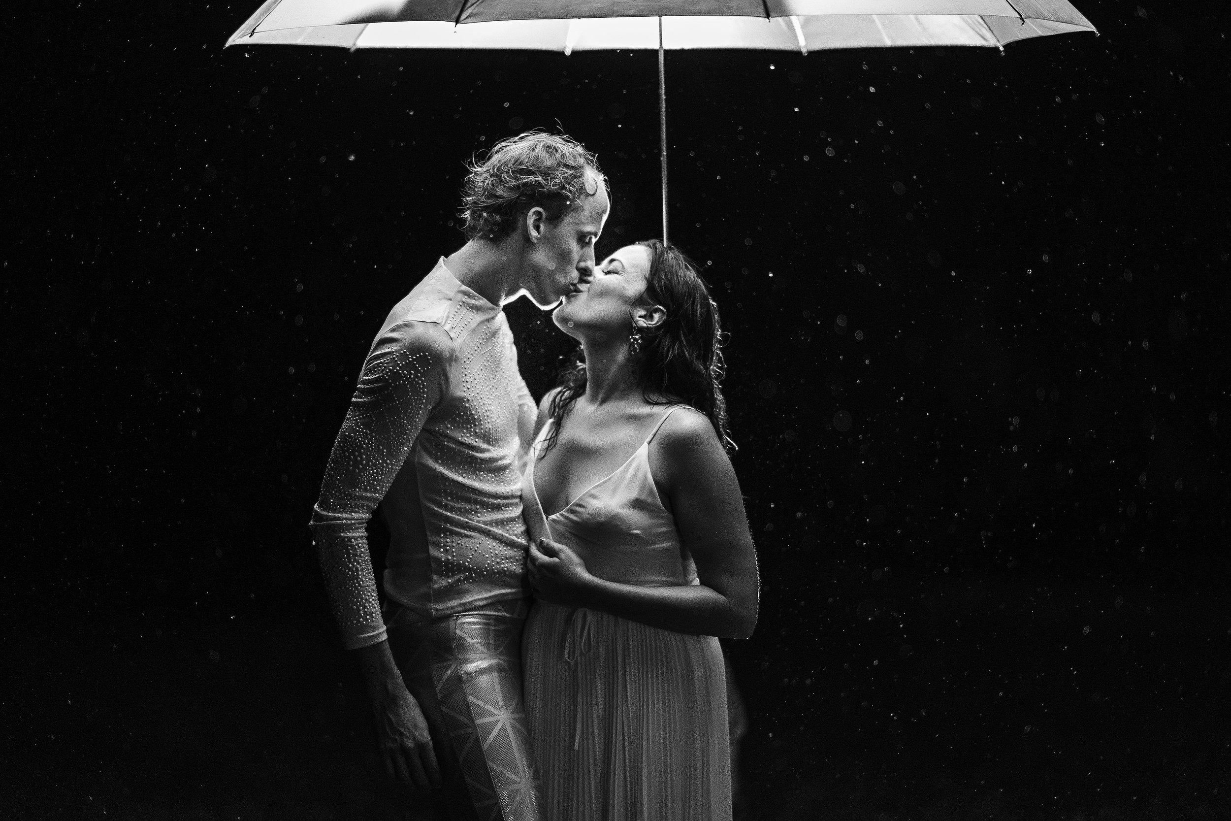 rainy day wedding night photo