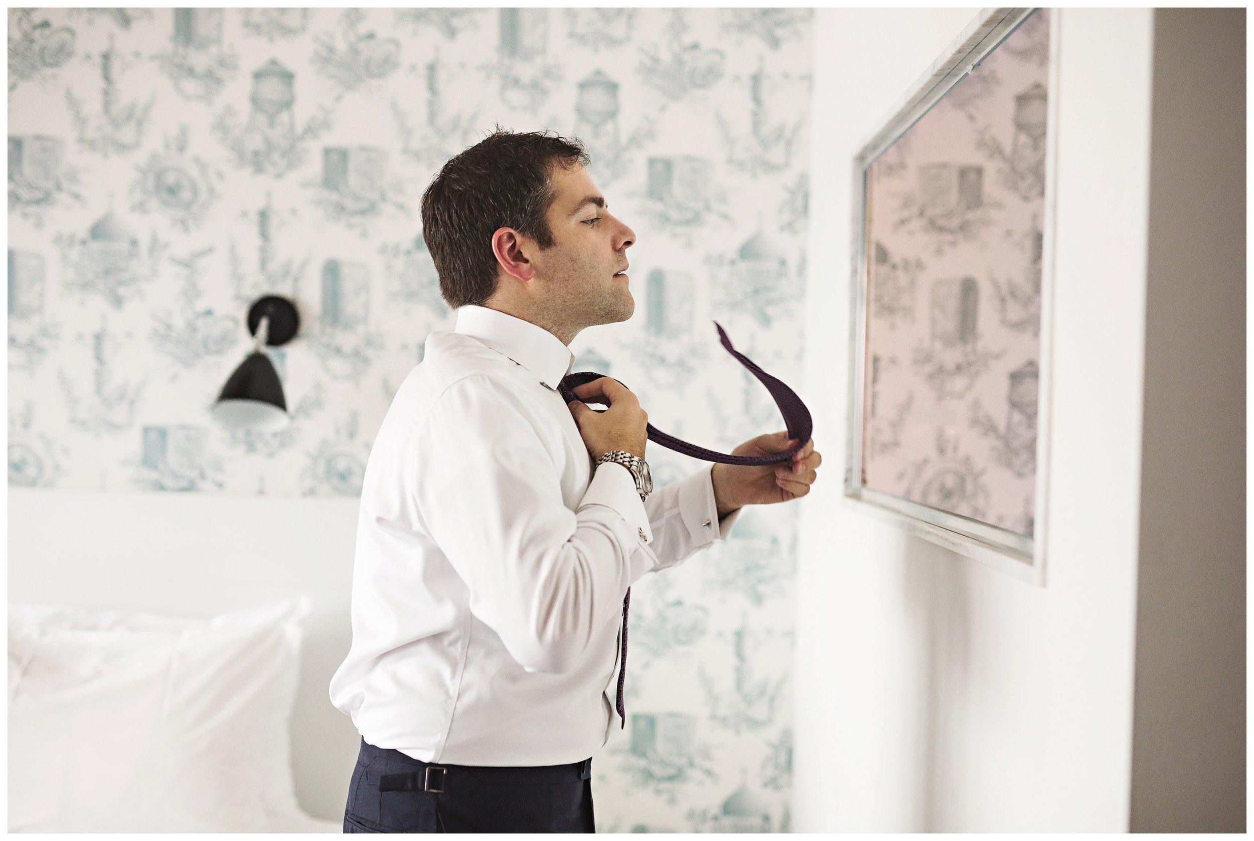 groom getting ready wythe hotel