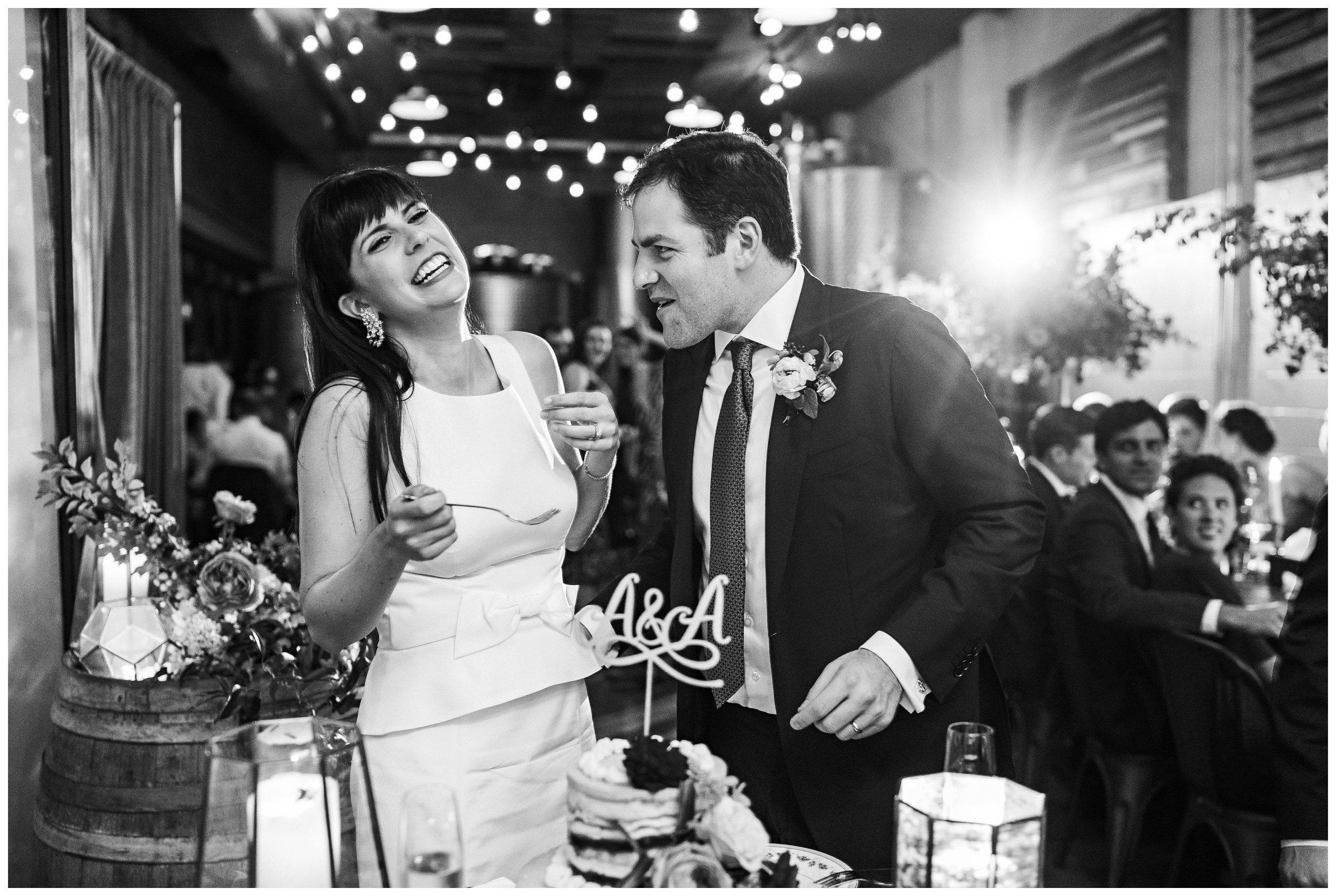 brooklyn winery wedding reception cake cutting