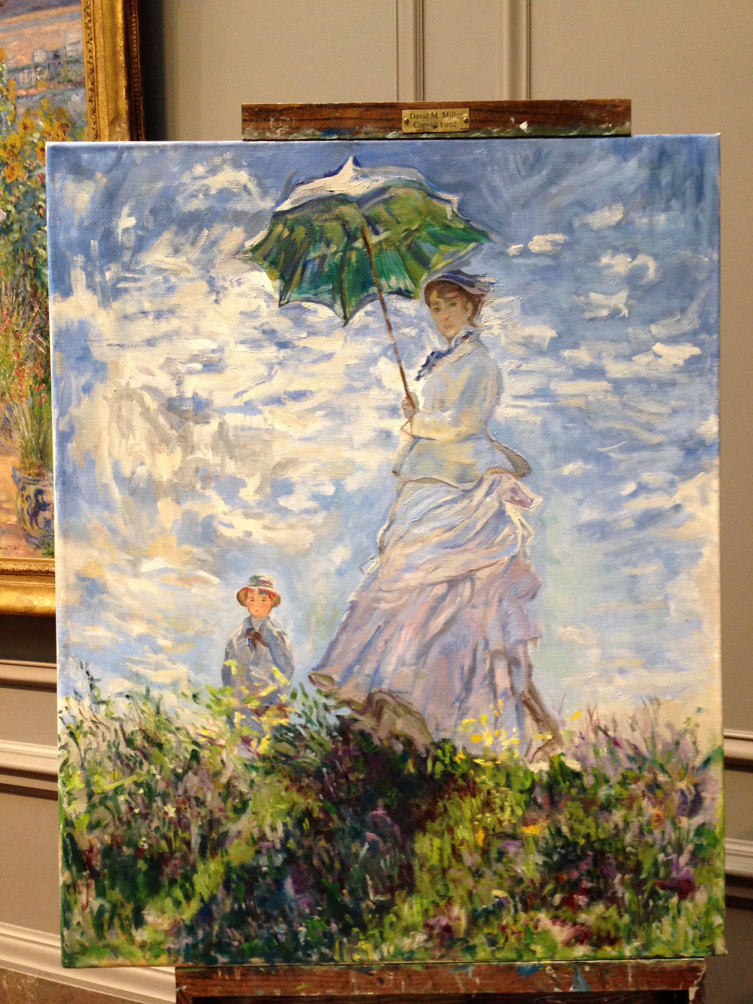 Copy in progress of Monet's Woman with Parasol