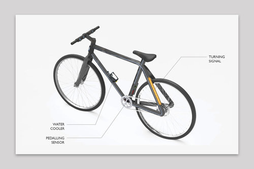 bicycle 3D printed out of carbon fiber and conductive filament