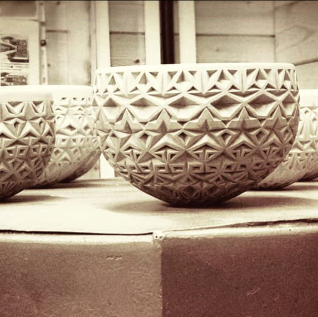 Amberlea McNaught   Amberlea is a ceramicist who has used her diverse training to hone her skills on the wheel, finding a unique and communicative visual language by intricately hand cutting patterns directly in her pots. Having trained internationally, Amberlea now works from her studio in Sheffield.