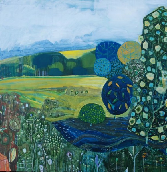 Lesley Seeger  Whilst my landscapes are built on close observation I also like to work in random ways, experimenting with colour and mark making freely. Much of my work becomes a hybrid between the observed and imagined.