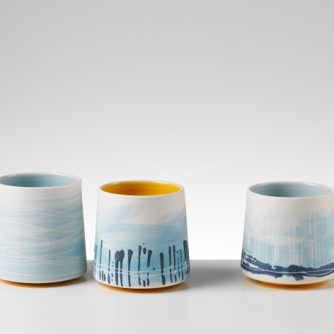 Juliet Macleod studied at Central St Martins and worked as a graphic designer in London for twenty years. After stopping work to have a family she rediscovered her love of pottery following a course at Gray's School of Art. Juliet moved to Aberdeen from Devon in 2010. She has been lucky to live in areas of immense natural beauty and this has in turn provided her with a huge visual resource.  After a year of discovery and experimentation Juliet now works as a studio potter specialising in contemporary porcelain using traditional slipware techniques.