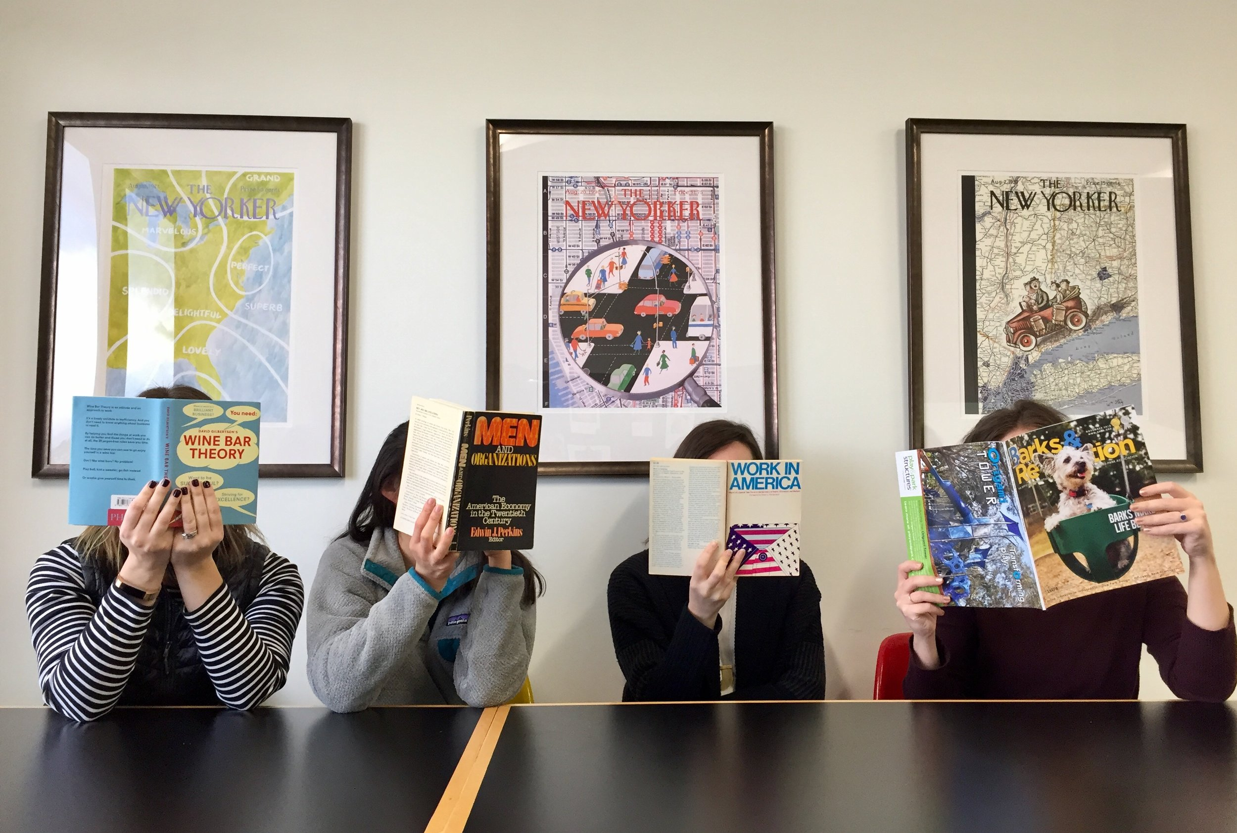 Books & Bagels - BERK staff browse for the next selection…