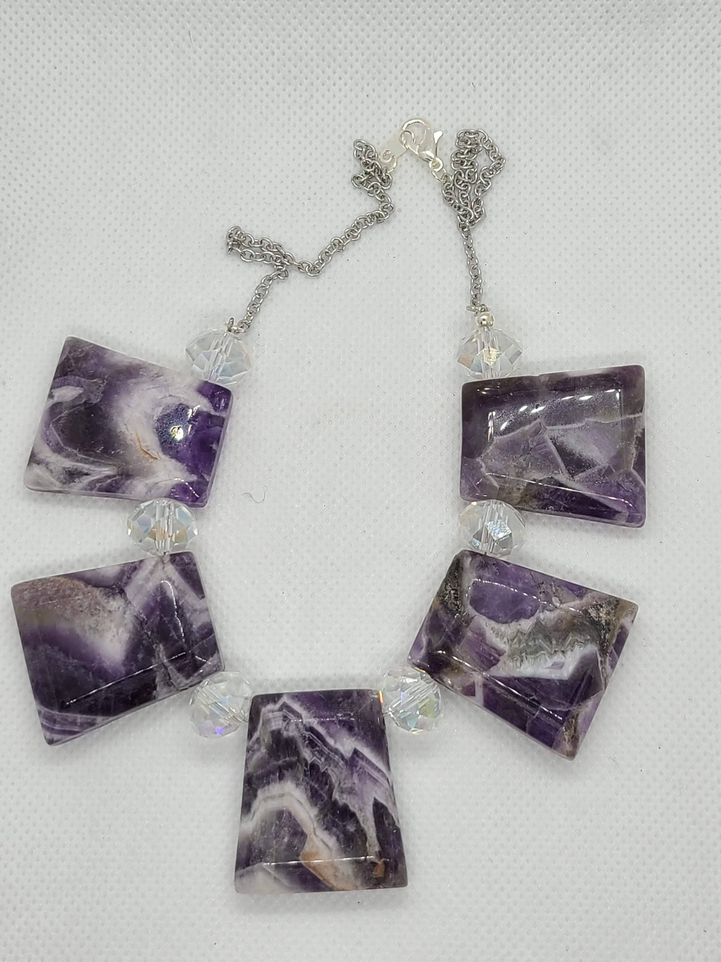 Tube and medal customizable 3 Amethyst necklaces