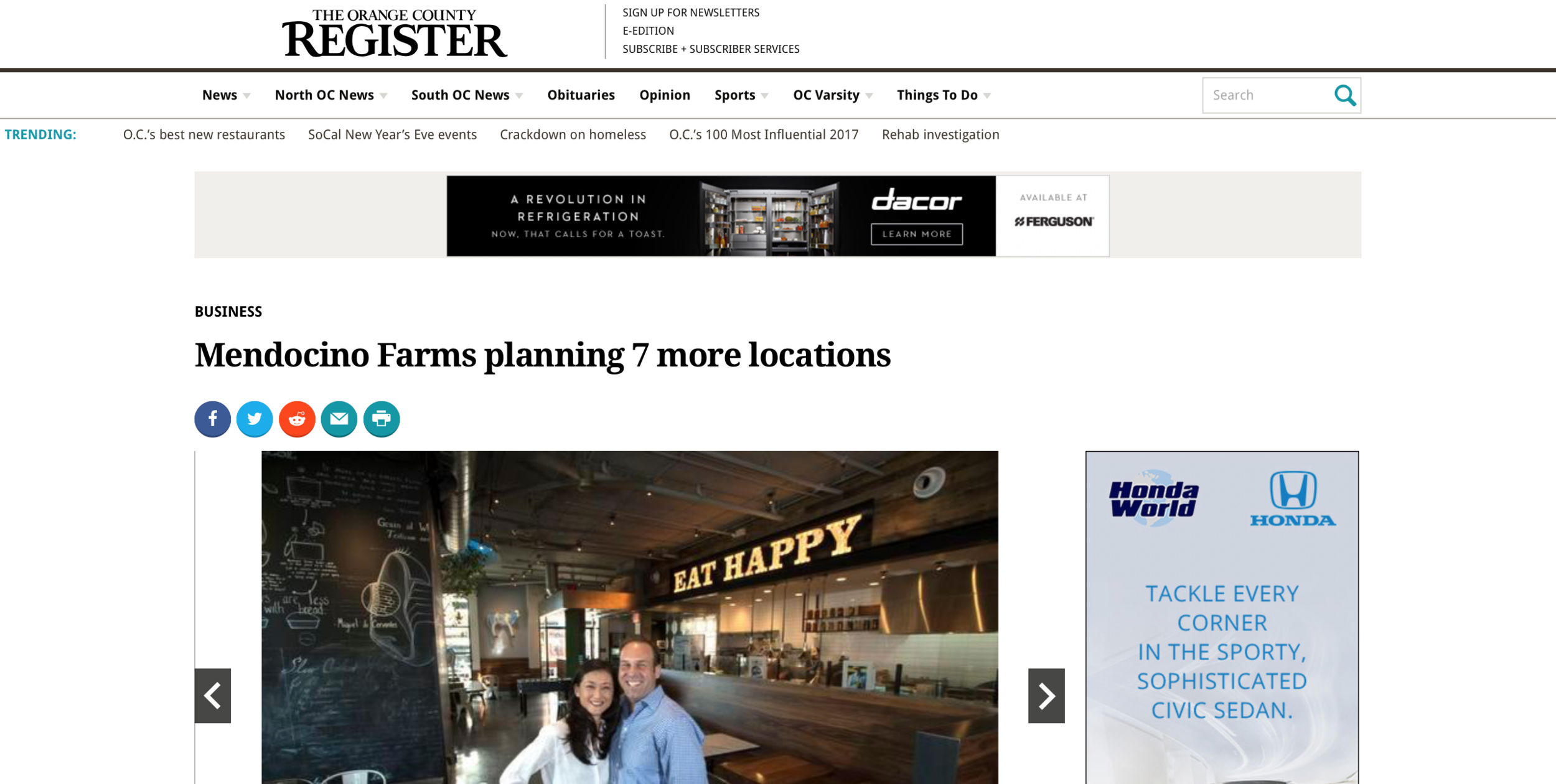OC Register - Mendocino Farms
