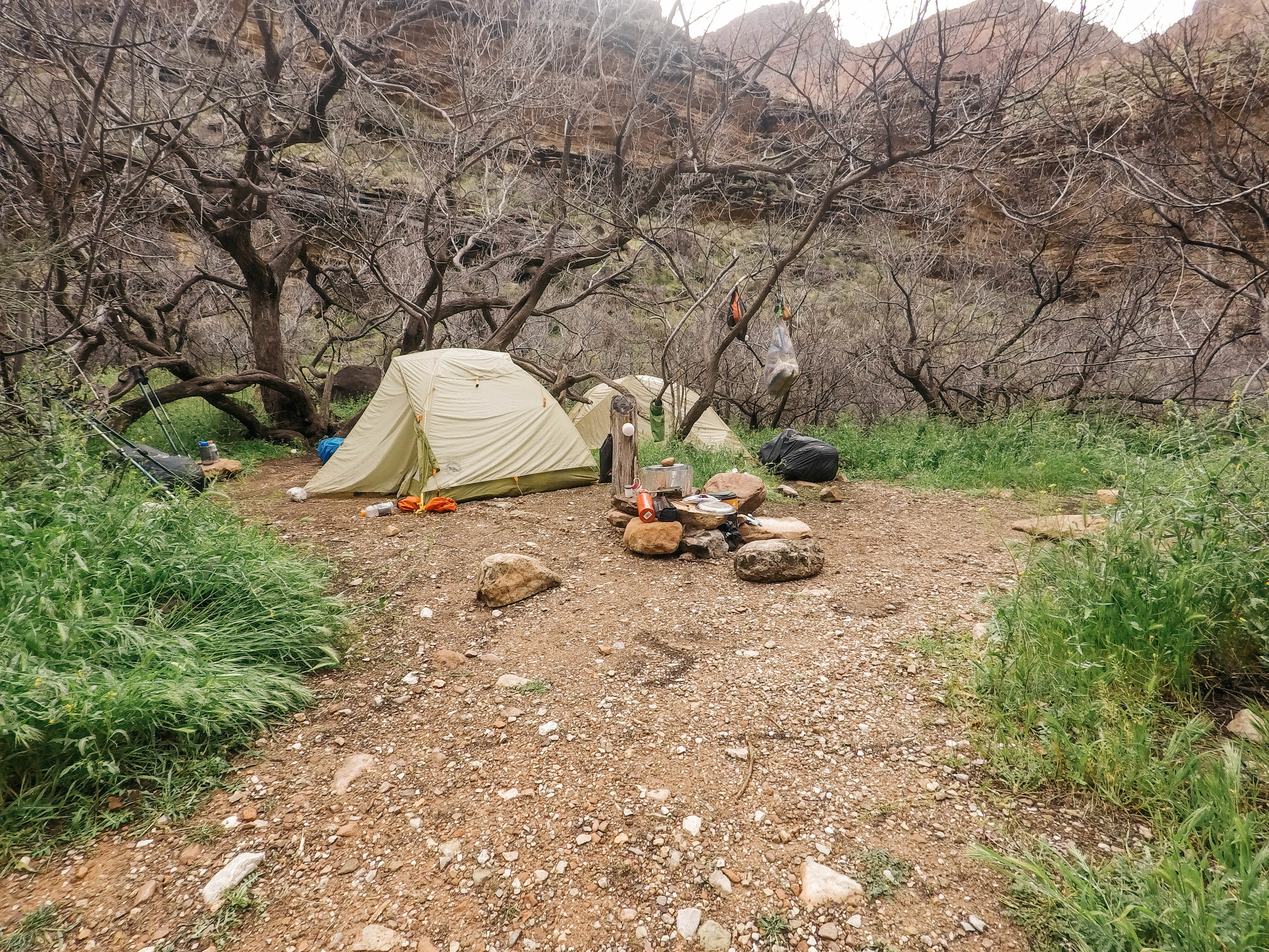 Our camp at monument creek. We slept under a very old, very strong tree.